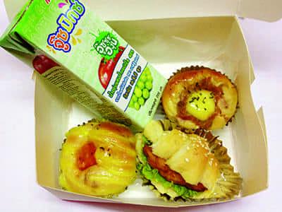 ปังไก่สับ+ครัวซองค์+ปังสลัดทูน่า+น้ำผลไม้