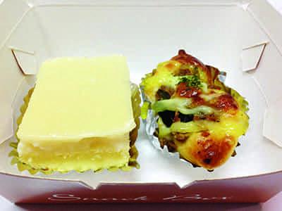 เค้กมะพร้าวนมสด+ปังทูน่าผักโขมชีส